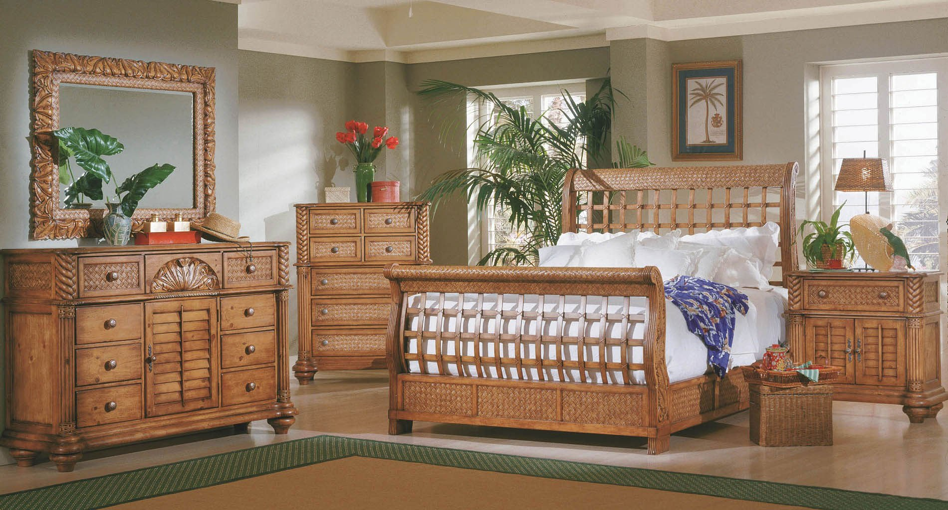 Palm Court Sleigh Bedroom Set Island Pine By Progressive Furniture Furniturepick