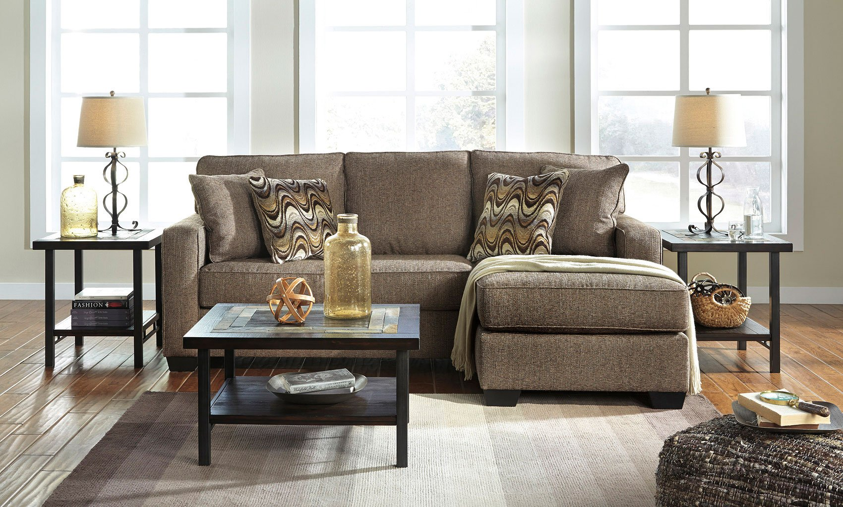 Tanacra Tweed Sofa Chaise Set Living Room Furniture Living
