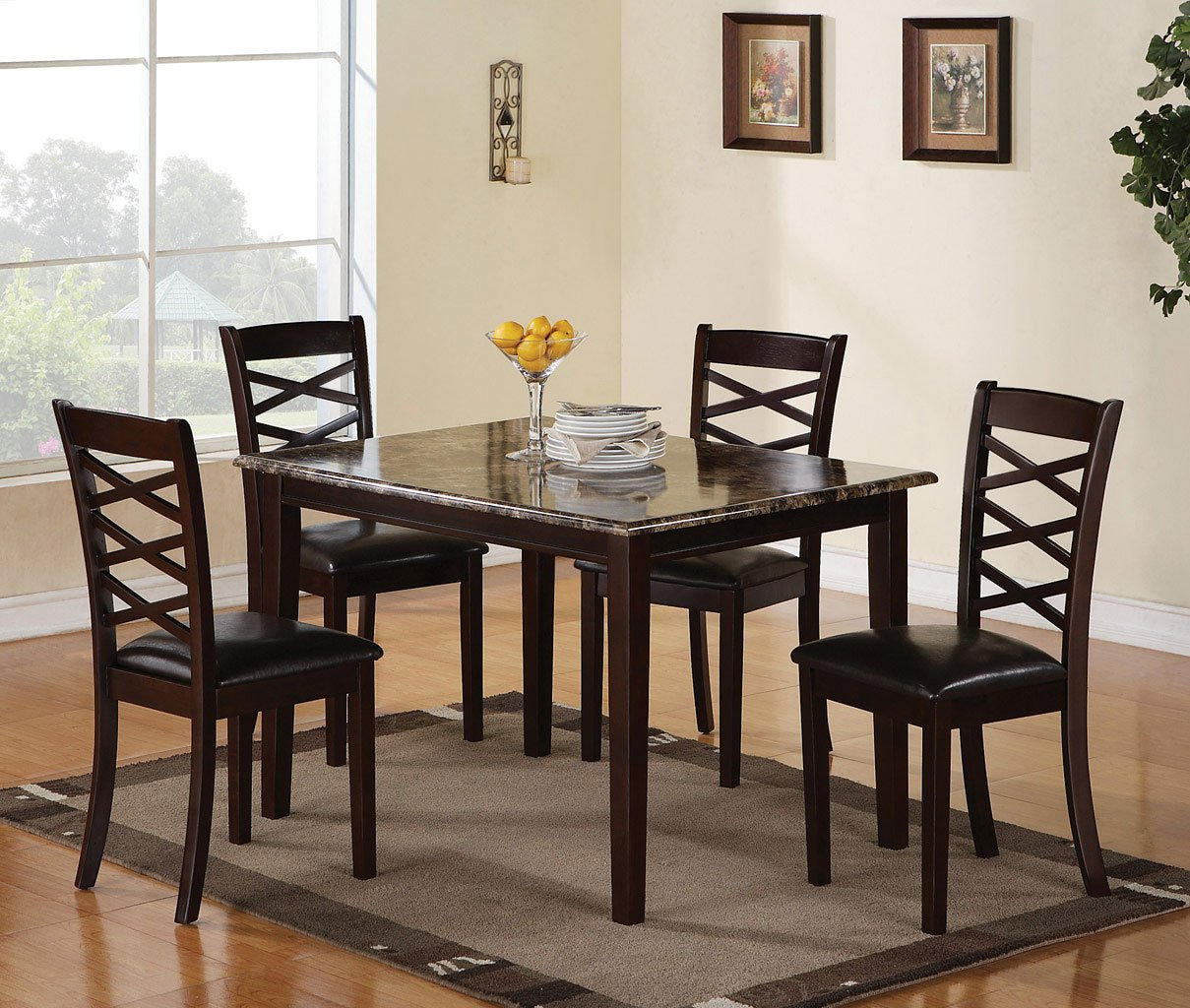 Dining Room Sets 5 Piece: Merlot 5-Piece Dining Room Set By Coaster Furniture
