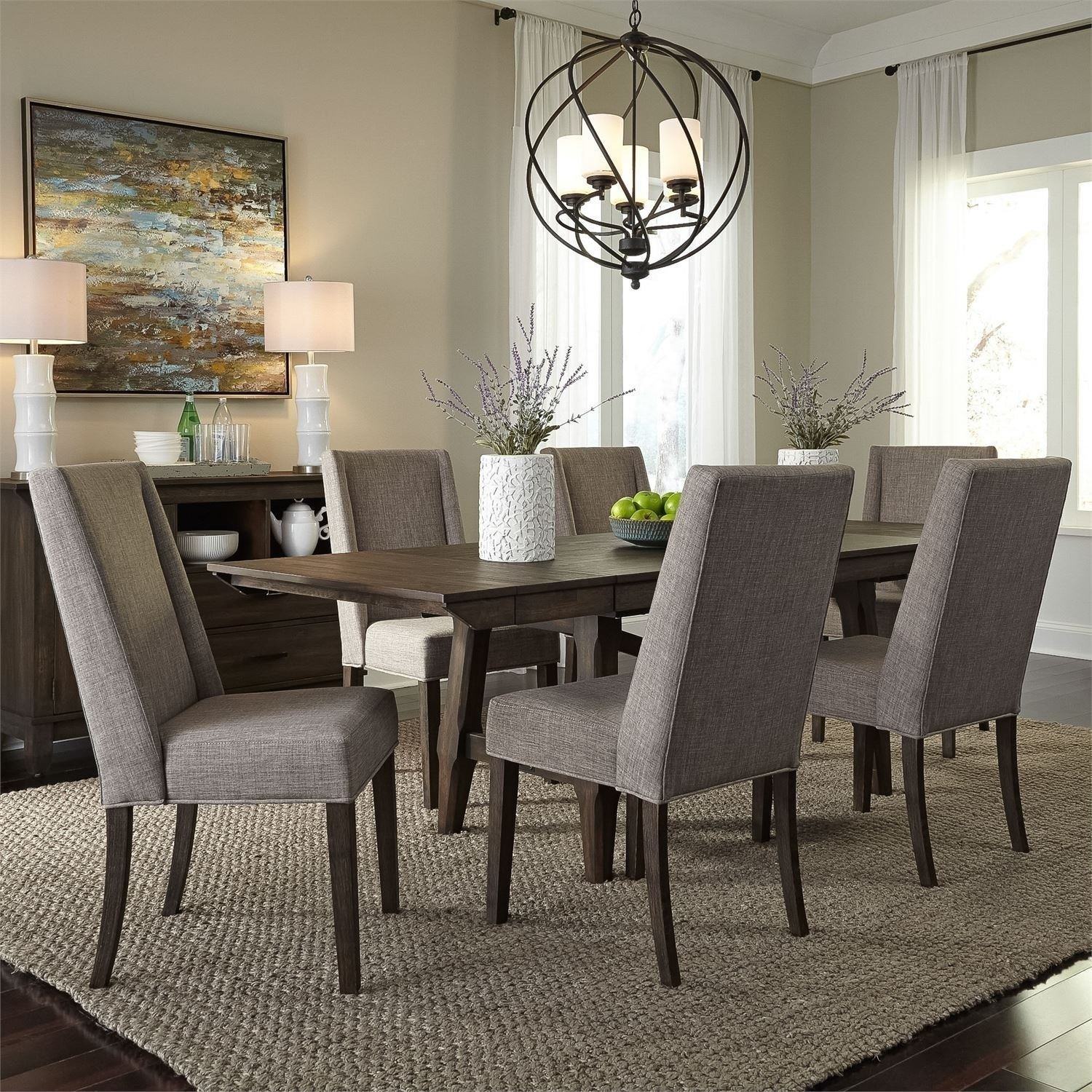 double brindge dining room set  upholstered chairs  liberty furniture furniturepick