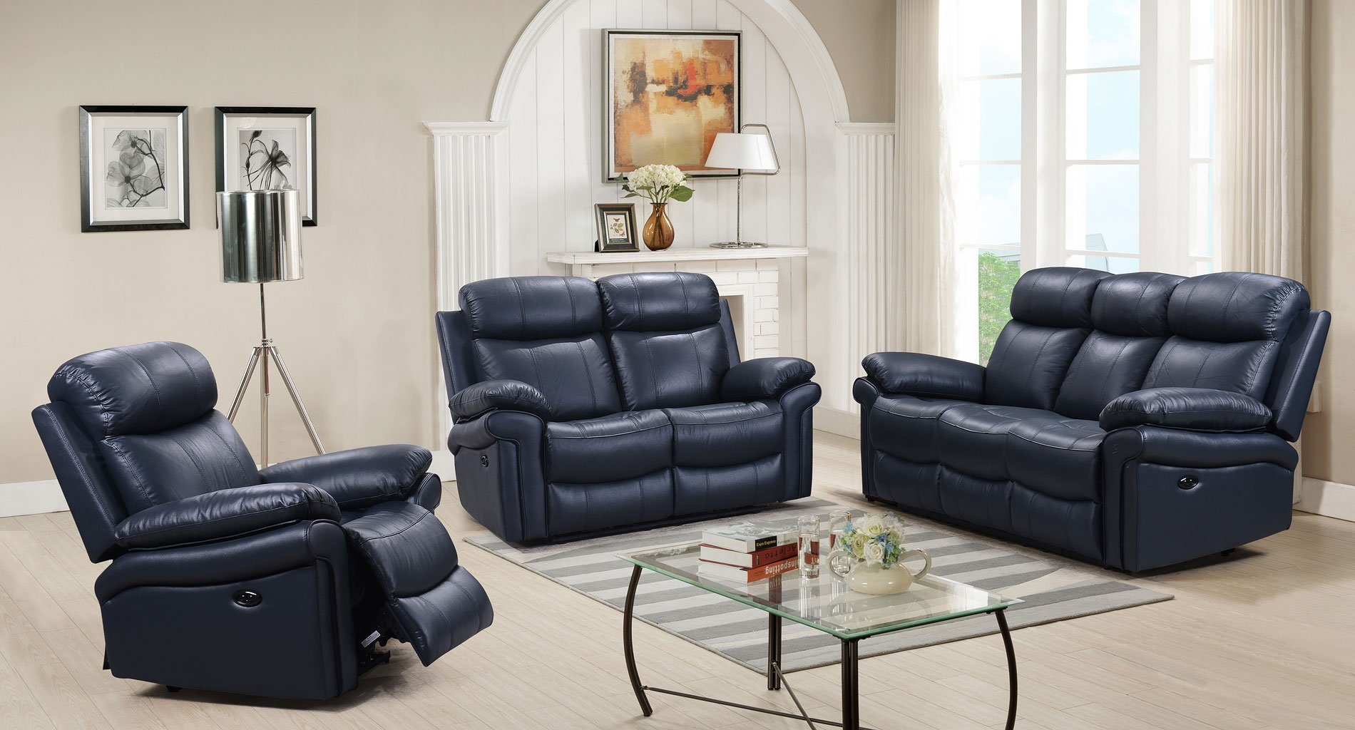 Joplin power reclining living room set navy living Reclining living room furniture