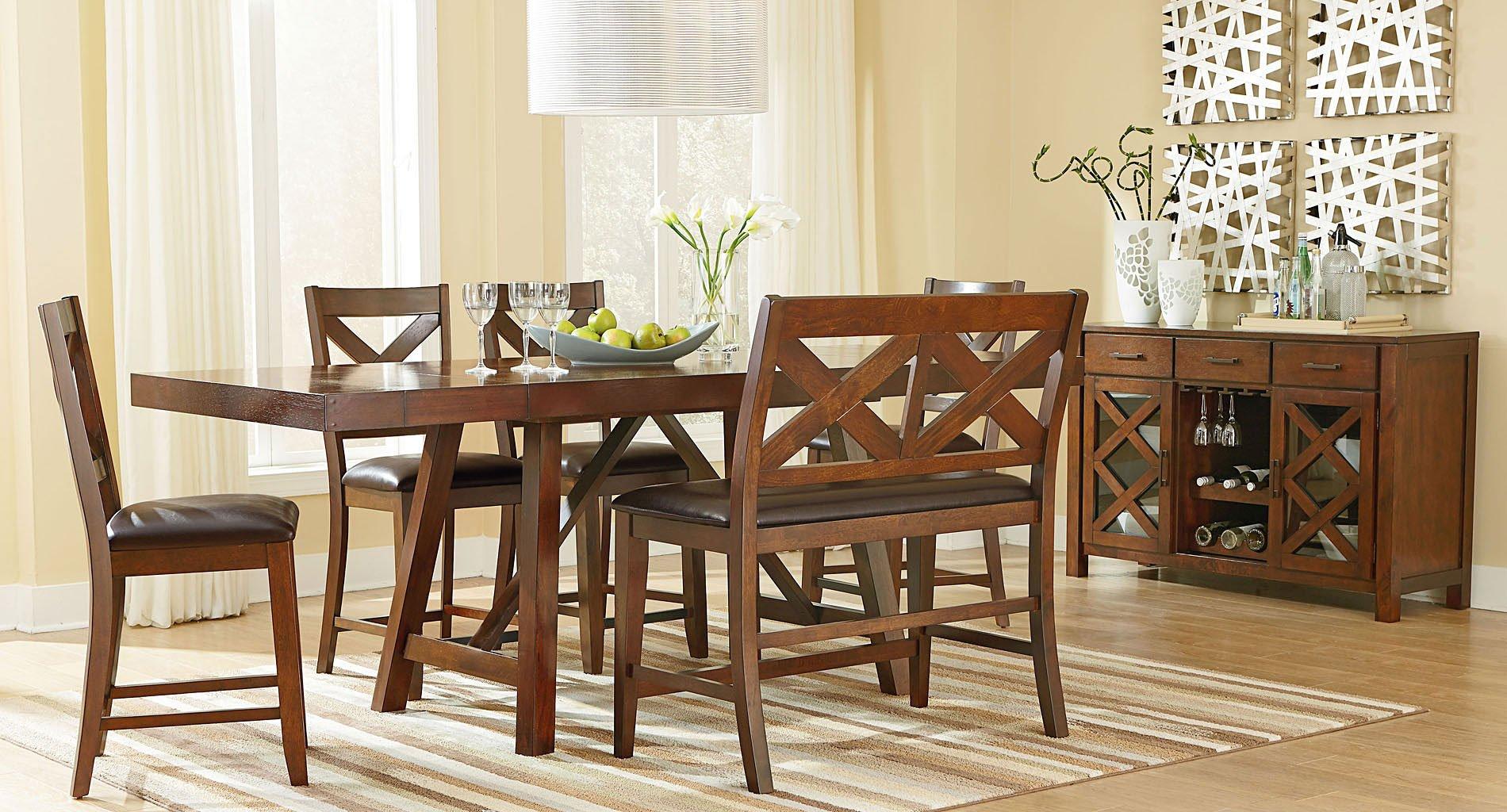 omaha counter height dining set w bench brown by standard furniture furniturepick. Black Bedroom Furniture Sets. Home Design Ideas