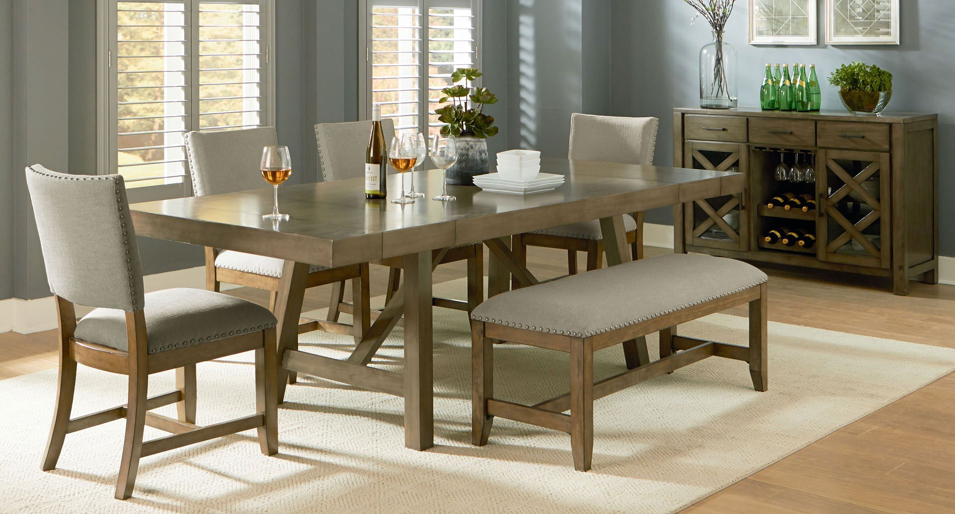 Omaha Dining Room Set W Upholstered Bench Grey Formal