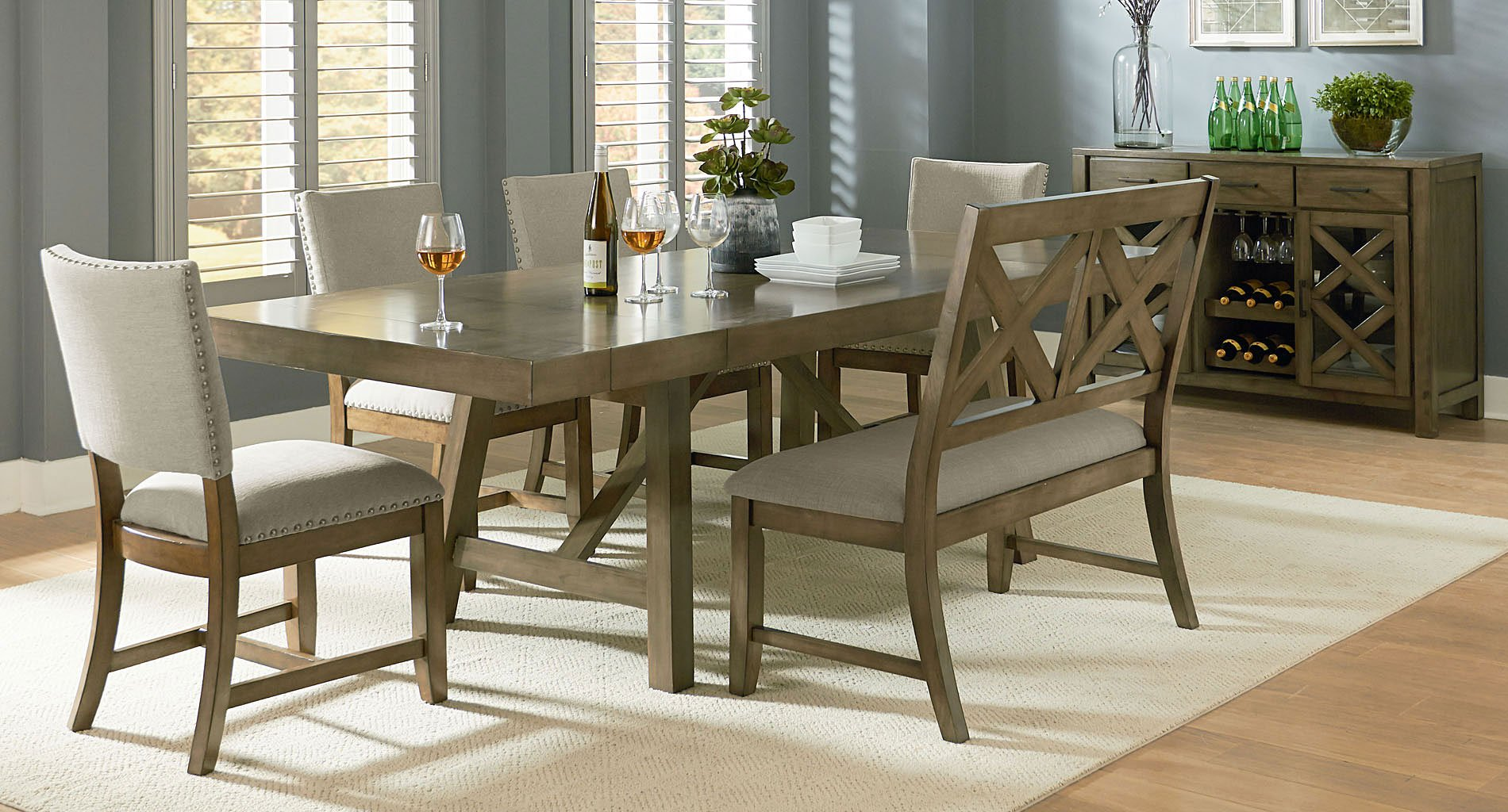 Omaha Dining Room Set W Bench And Upholstered Chairs