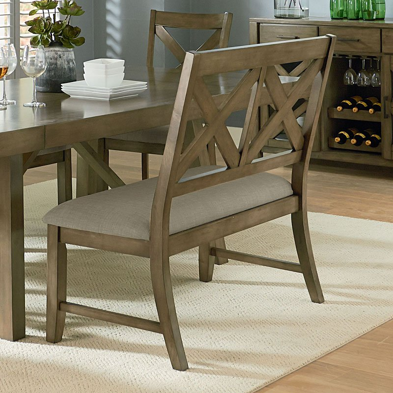 Dining Room Bench With Back: Omaha Dining Room Set W/ X-Back Bench (Grey) By Standard