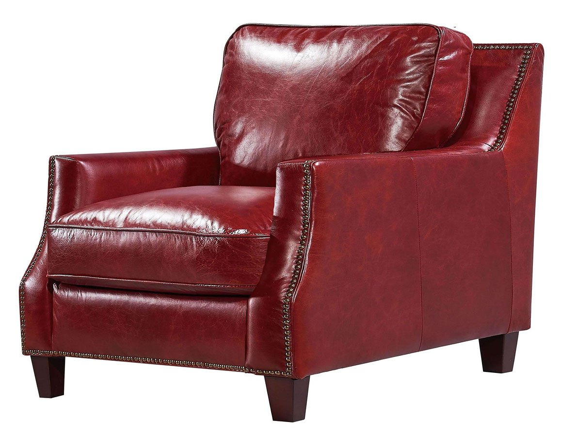 Oakridge leather chair red by leather italia furniturepick
