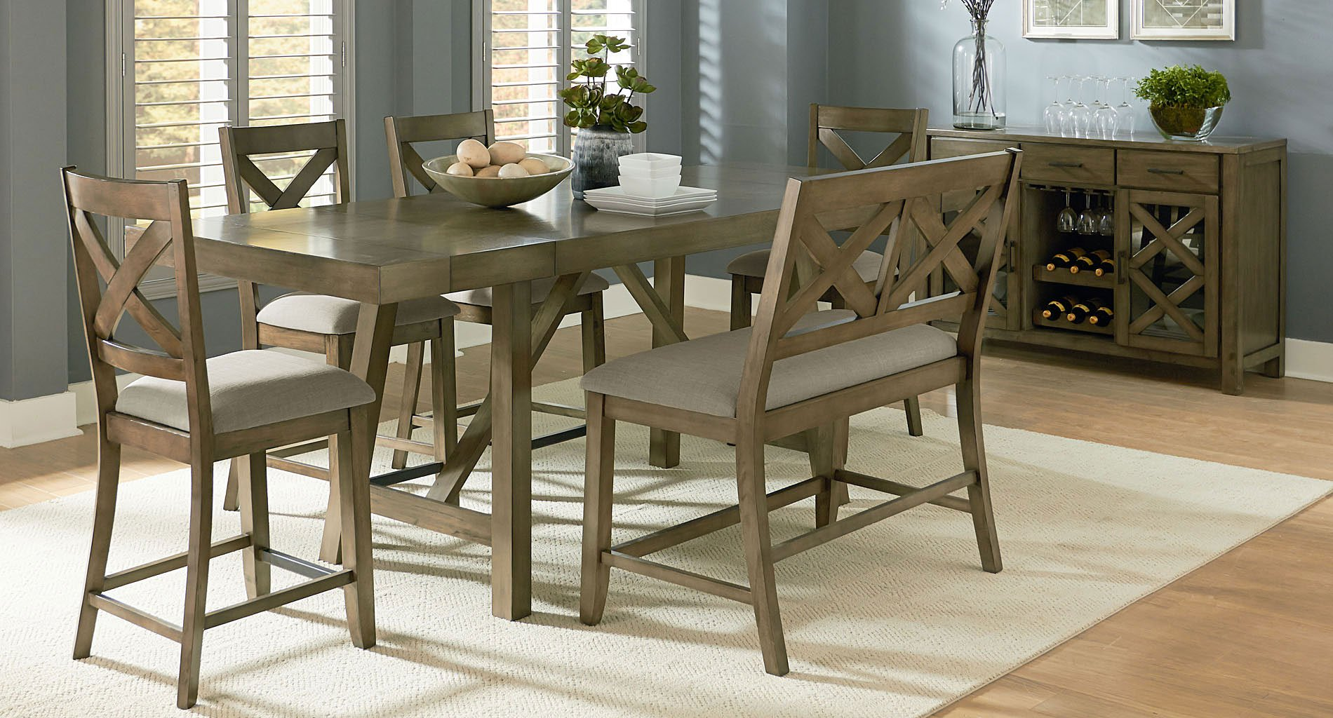 Omaha Counter Height Dining Set W X Back Bench Grey