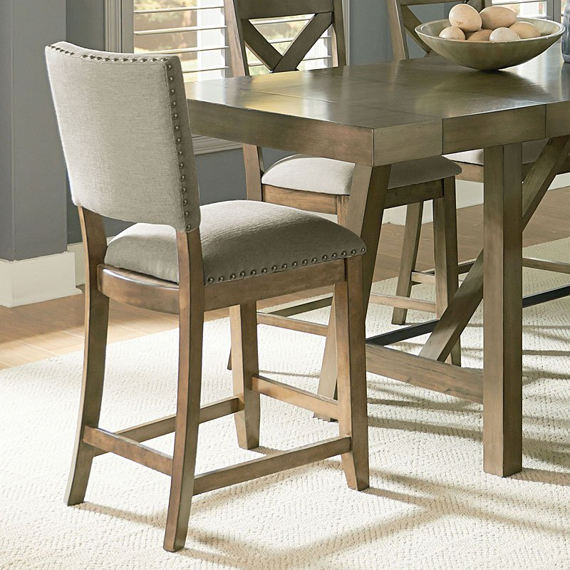 Omaha Upholstered Counter Height Chair Grey Set Of 2