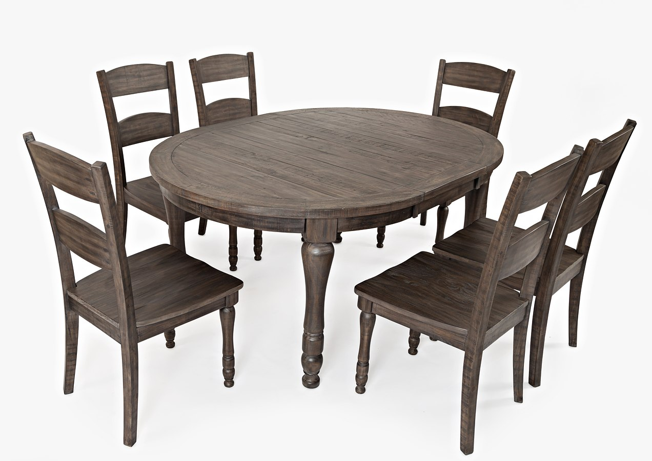 Madison County Round To Oval Dining Room Set Barnwood Dining
