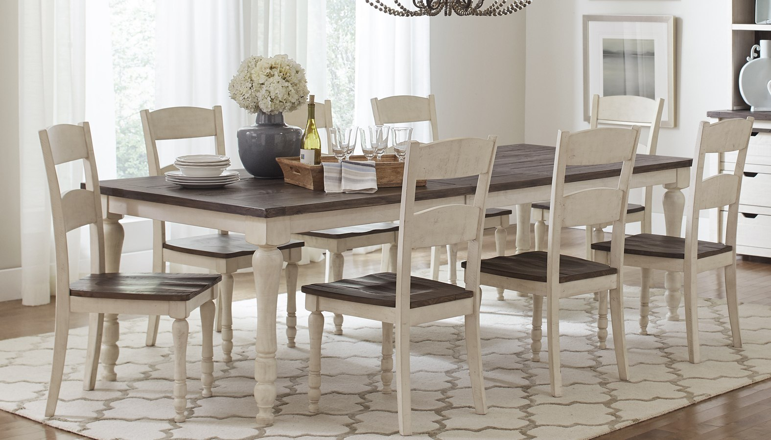 Madison County Rectangular Dining Room Set Vintage White By Jofran Furniture Furniturepick