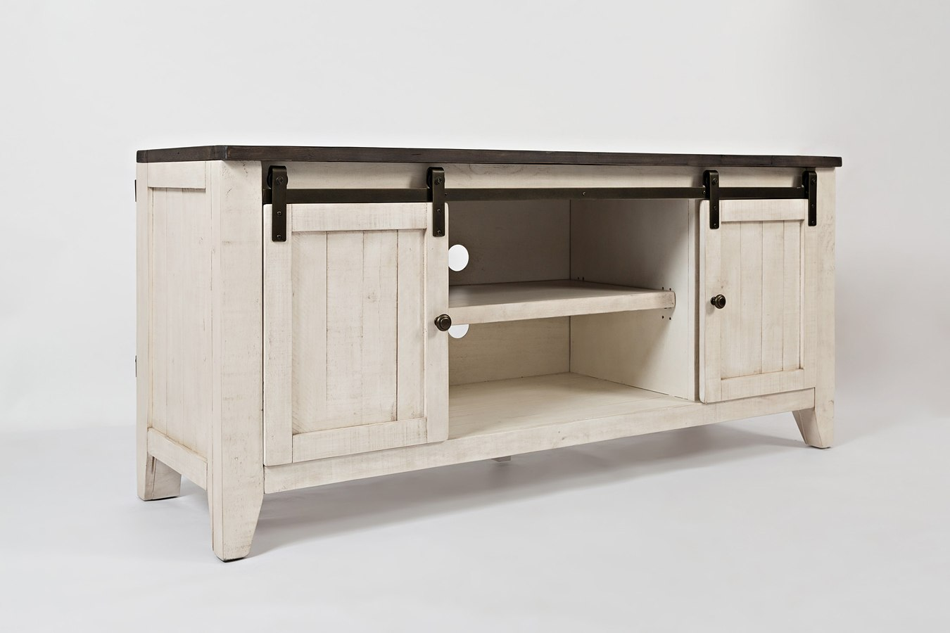 Madison Country 60 Inch Barn Door Media Console Vintage White By Jofran Furniture Furniturepick
