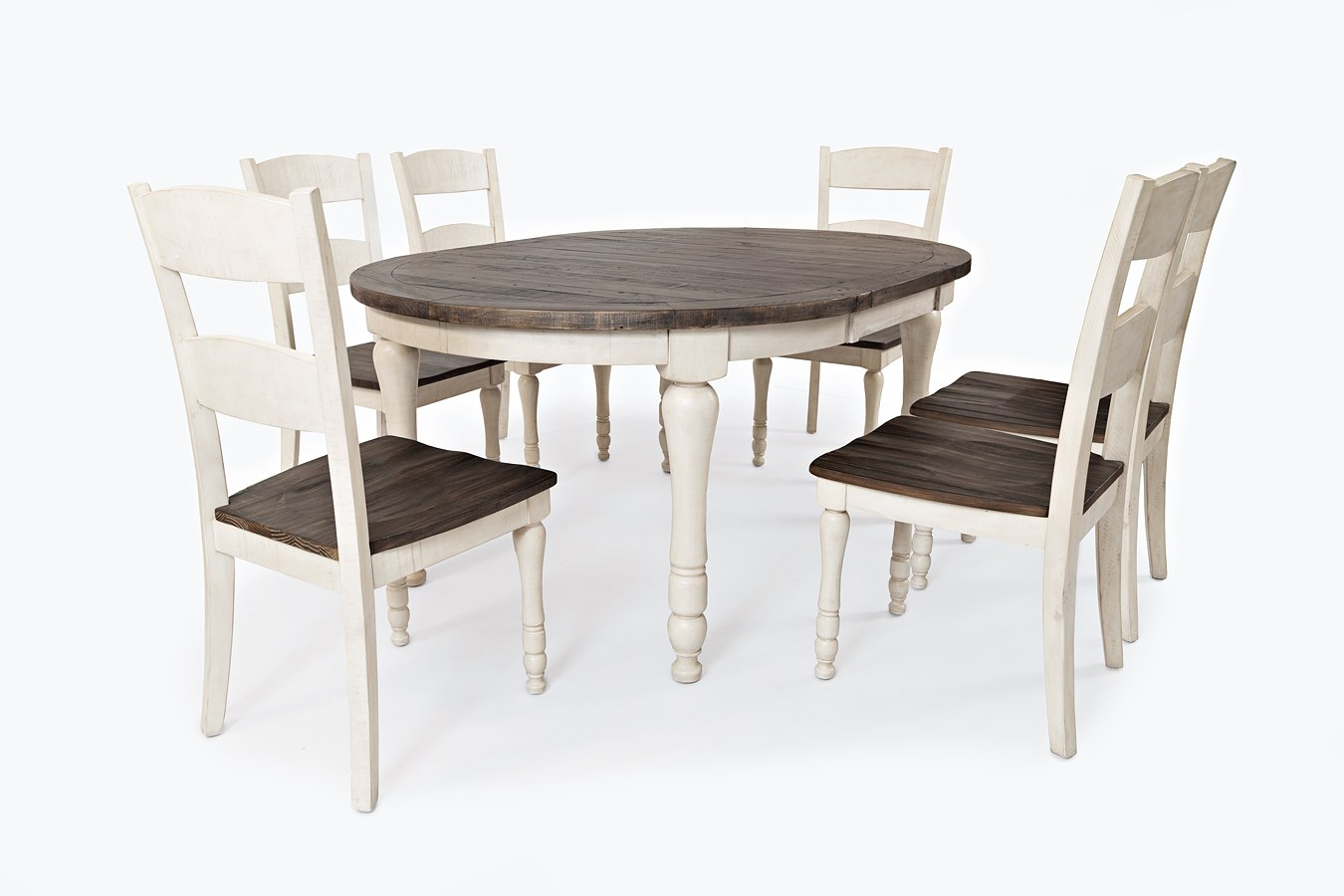 Madison county round to oval dining room set vintage white