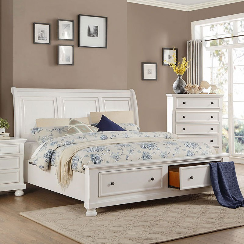 Laurelin Storage Bed White Queen By Homelegance