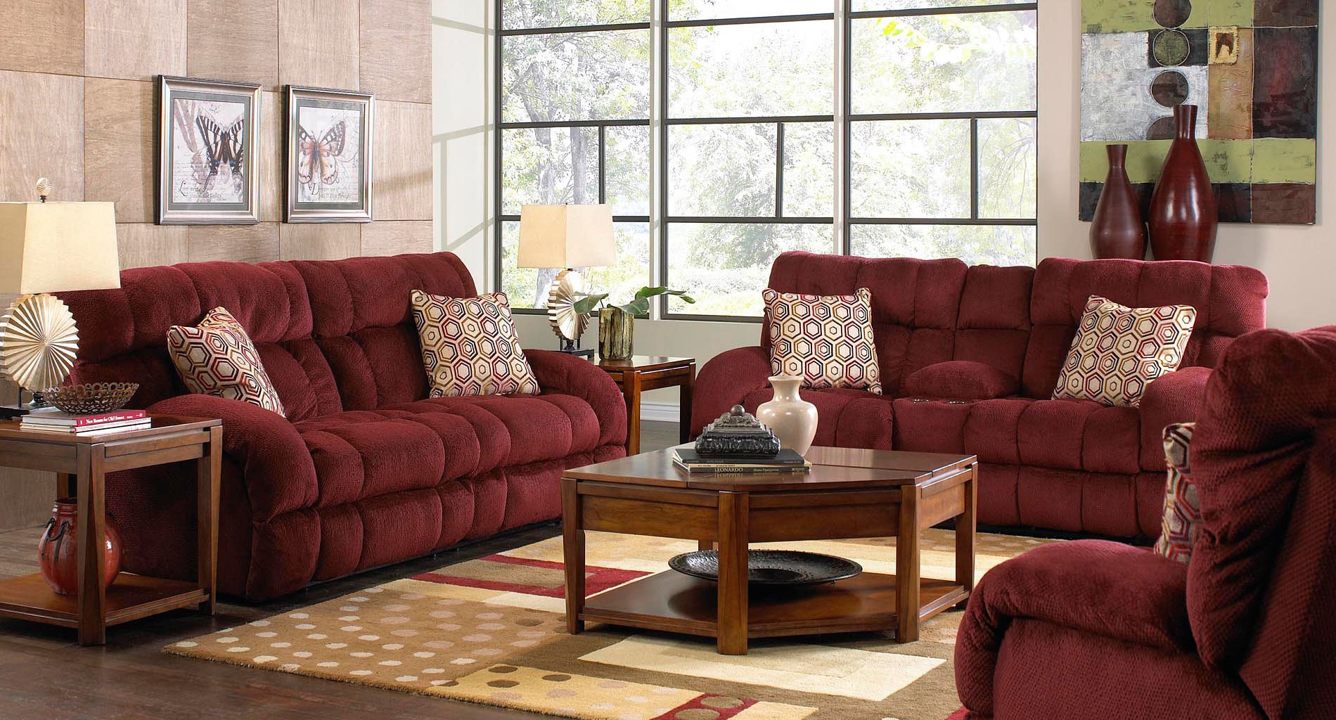 Siesta Reclining Living Room Set Wine