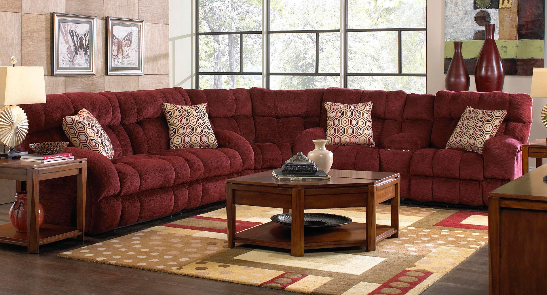 Siesta Reclining Sectional Wine By Catnapper Furniturepick