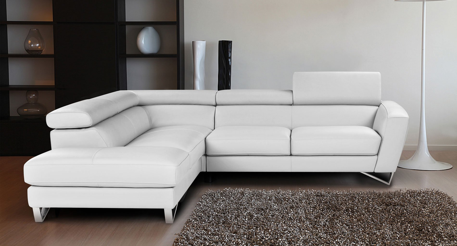 Sparta Leather Left Chaise Sectional (White) by JM ...