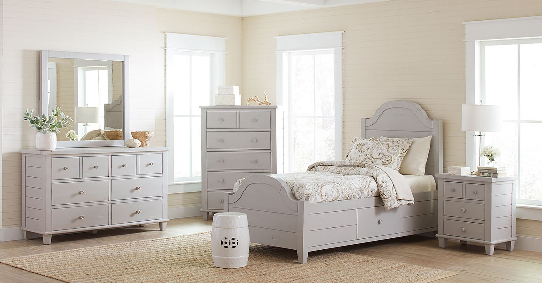 Chesapeake youth storage bedroom set dove grey by jofran - Youth bedroom furniture with storage ...