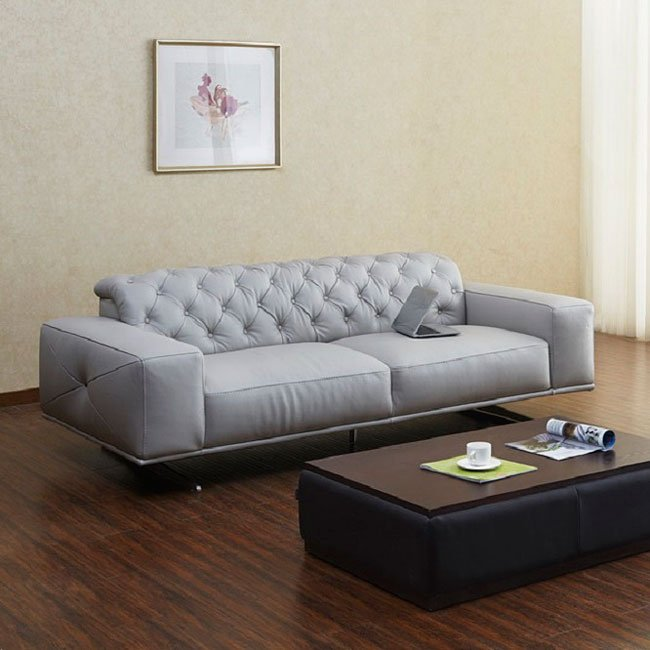 Oto Leather Sofa Light Grey By Jm