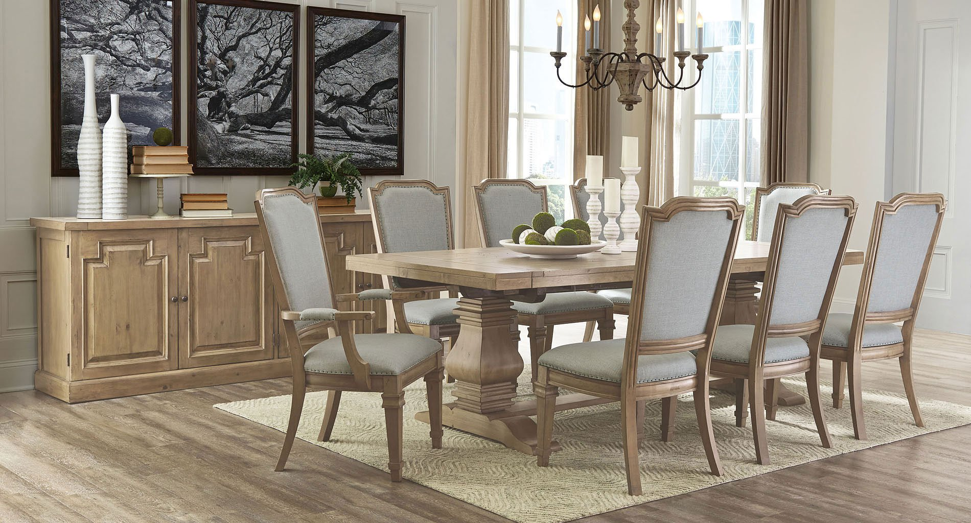 Florence Rectangular Dining Room Set w/ Vintage Chairs ...