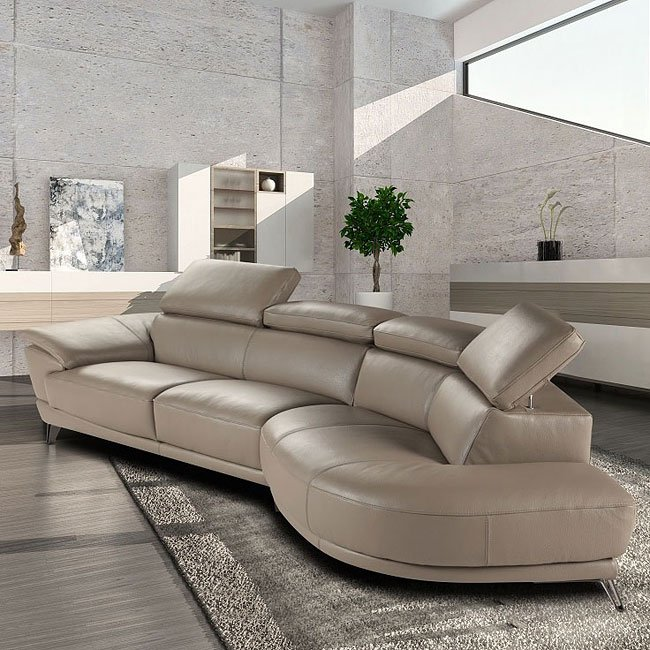 Marisol Leather Right Chaise Sectional Taupe By Jm