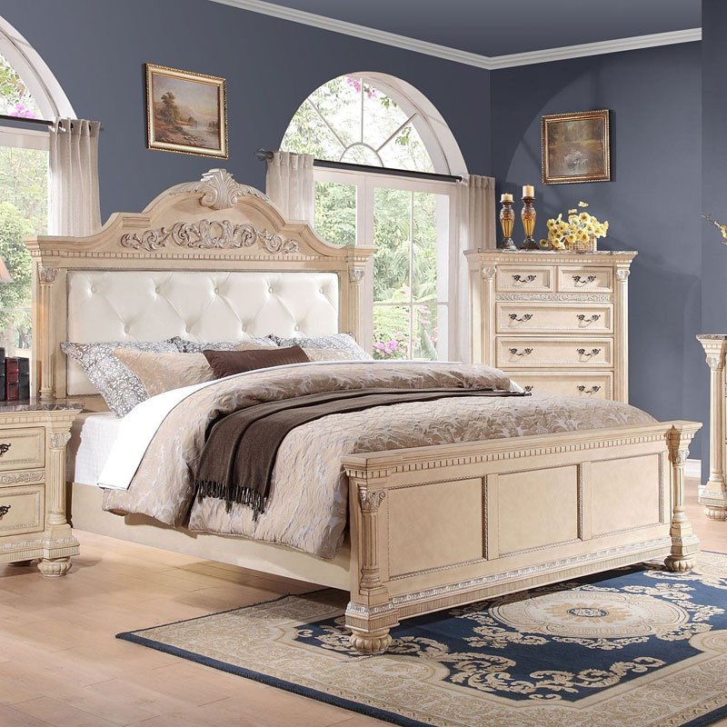 Russian Hill Panel Bedroom Set (Antique White) by Homelegance ...