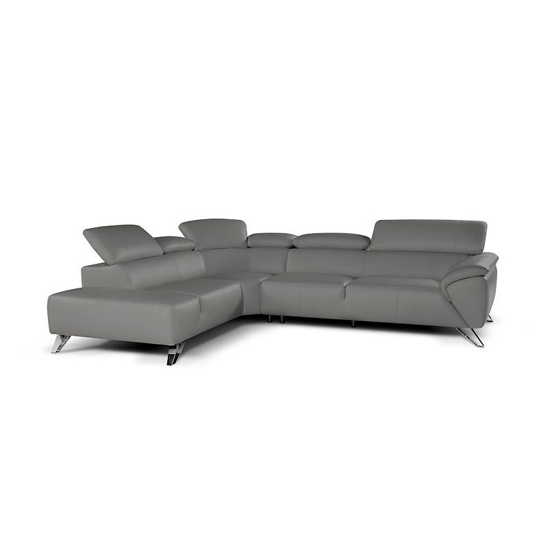 Tesla Italian Leather Left Chaise Sectional (Grey) by JM ...