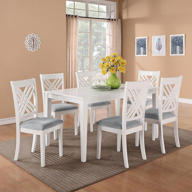 Brooklyn White 7 Piece Dining Room Set By Standard Furniture
