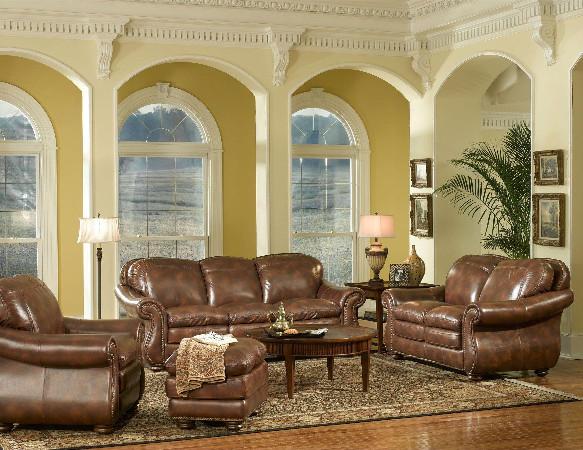 Duplin leather living room set
