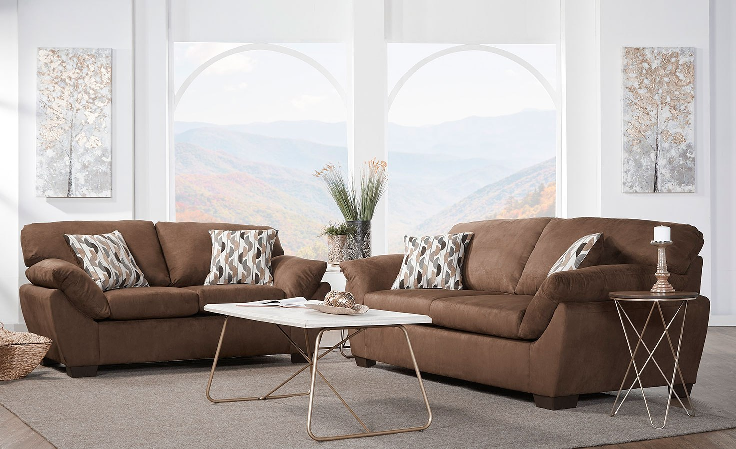 18400 Series Sienna Chocolate Living Room Set