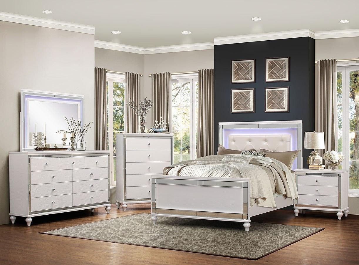 Alonza Panel Bedroom Set w/ LED Lighting by Homelegance ...