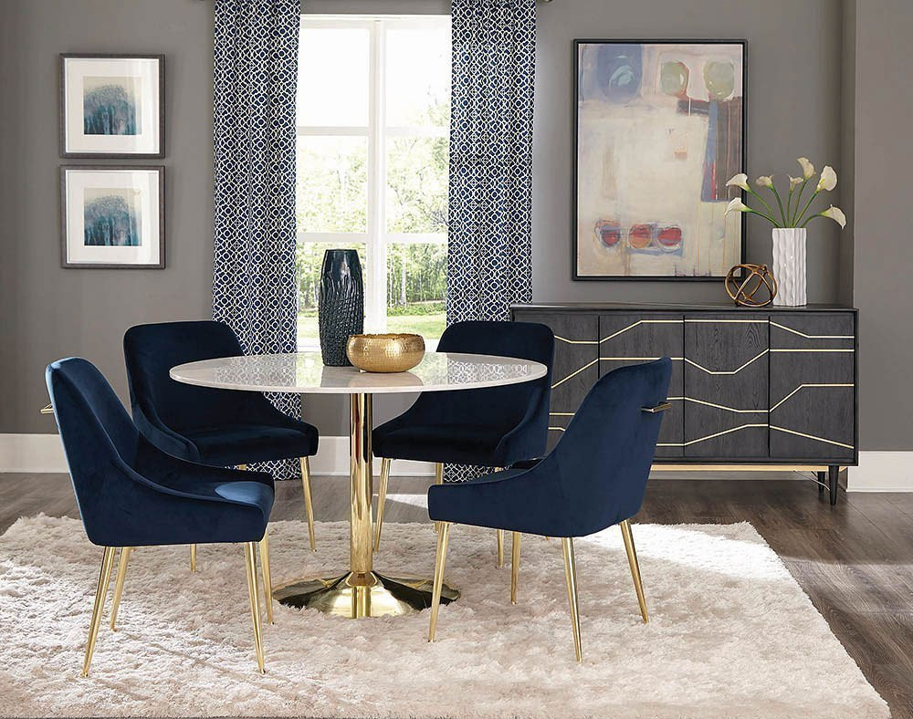 Steele Dining Room Set w/ Dark Ink Blue Chairs by Coaster ...