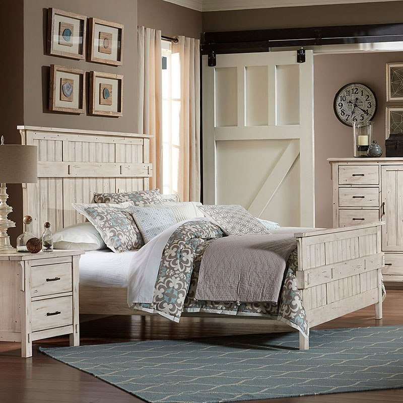 Charmant Terrace Panel Bed (Antique White) (Queen) By Homelegance