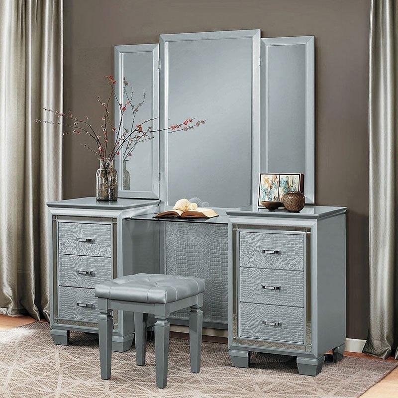 Allura Vanity Dresser w/ Mirror (Silver)