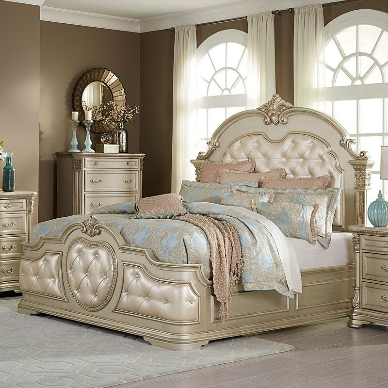Superieur Antoinetta Panel Bed (Champagne) (Queen)
