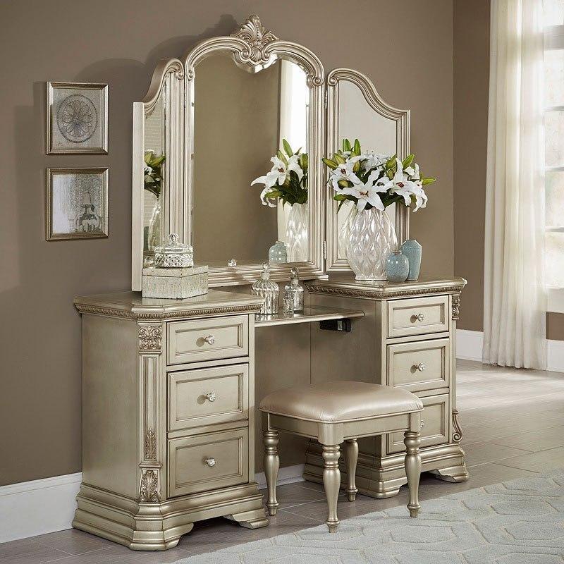 Antoinetta Vanity Dresser W Mirror Champagne