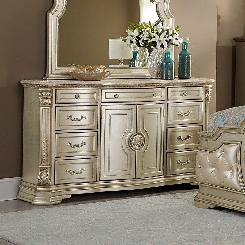 Antoinetta Dresser w/ Marble Top (Champagne)