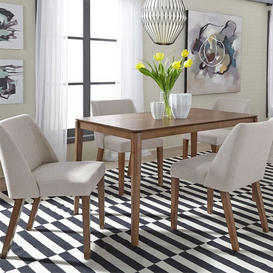 Rectangular Dinette Sets: Space Savers Rectangular Dining Room Set W/ Tan Chairs By