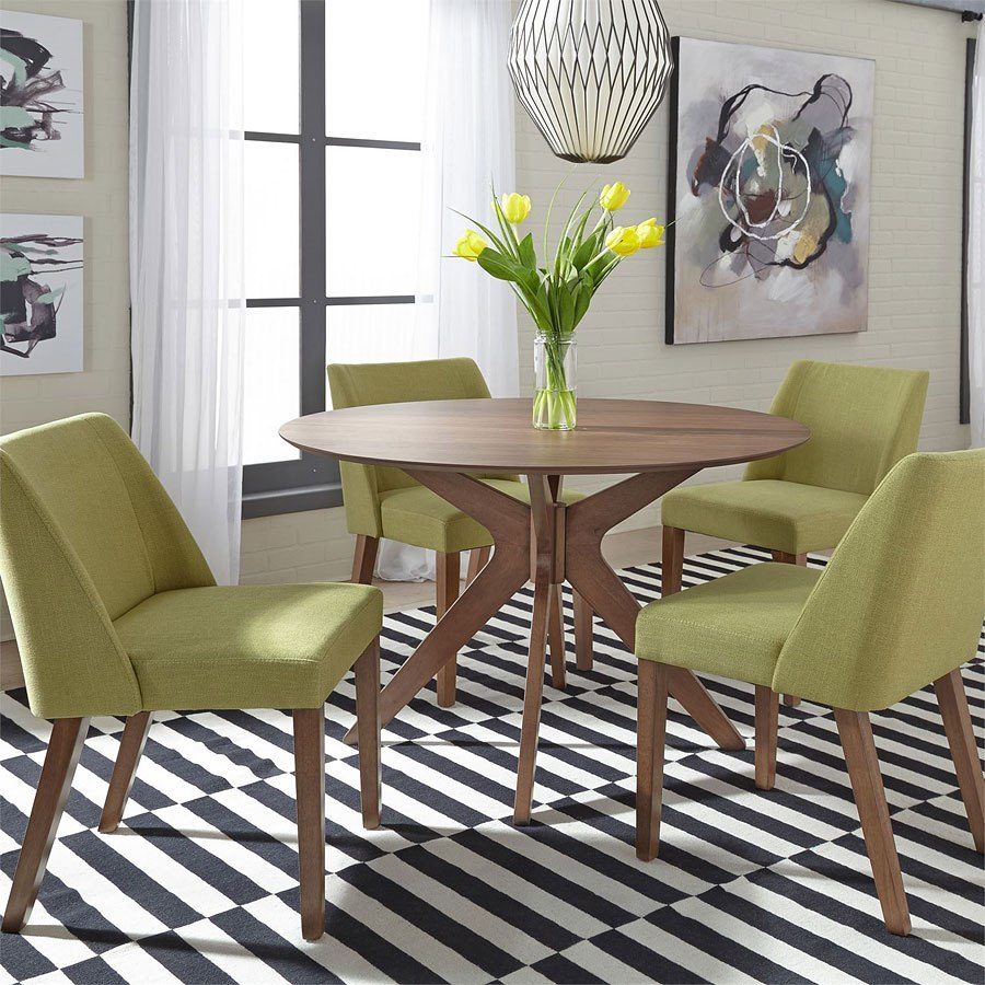 Space Savers Round Dining Room Set W/ Green Chairs By
