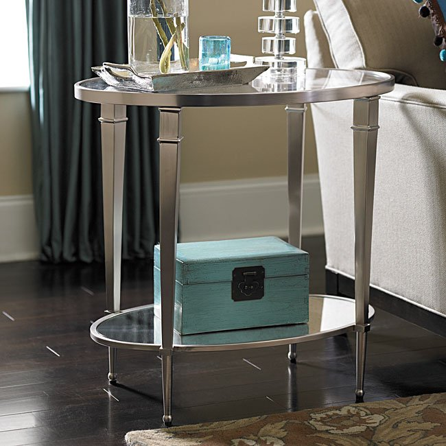 Mallory Oval End Table W Mirrored Shelf Occasional And