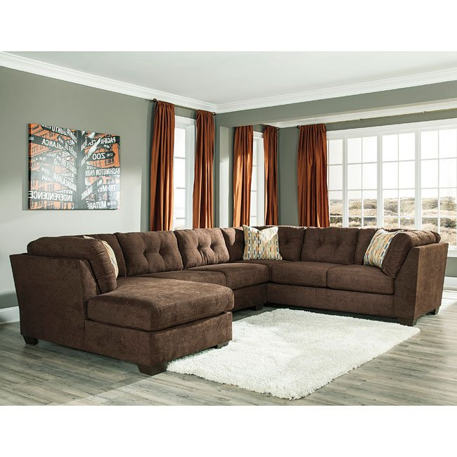 Delta City Chocolate Left Chaise Sectional By Benchcraft