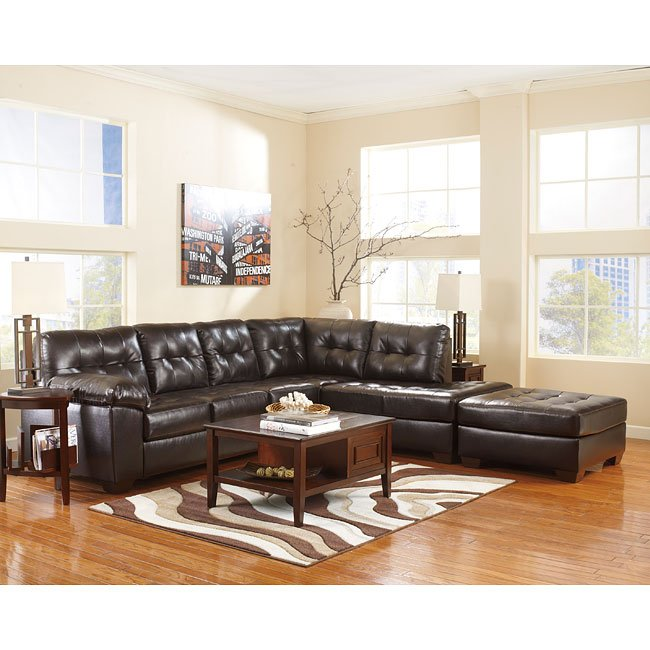 Awe Inspiring Alliston Durablend Chocolate Sectional Set Gmtry Best Dining Table And Chair Ideas Images Gmtryco