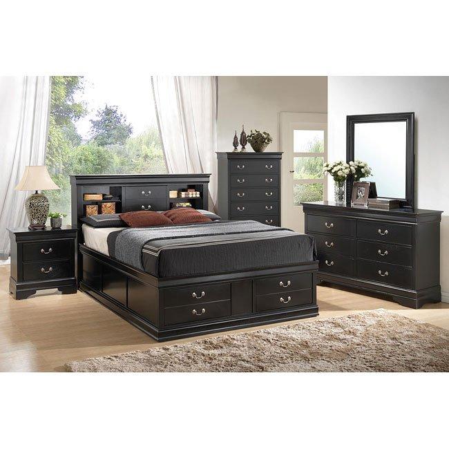 Louis philippe storage bedroom set black by coaster furniture 1 reviews furniturepick for Coaster bedroom furniture reviews