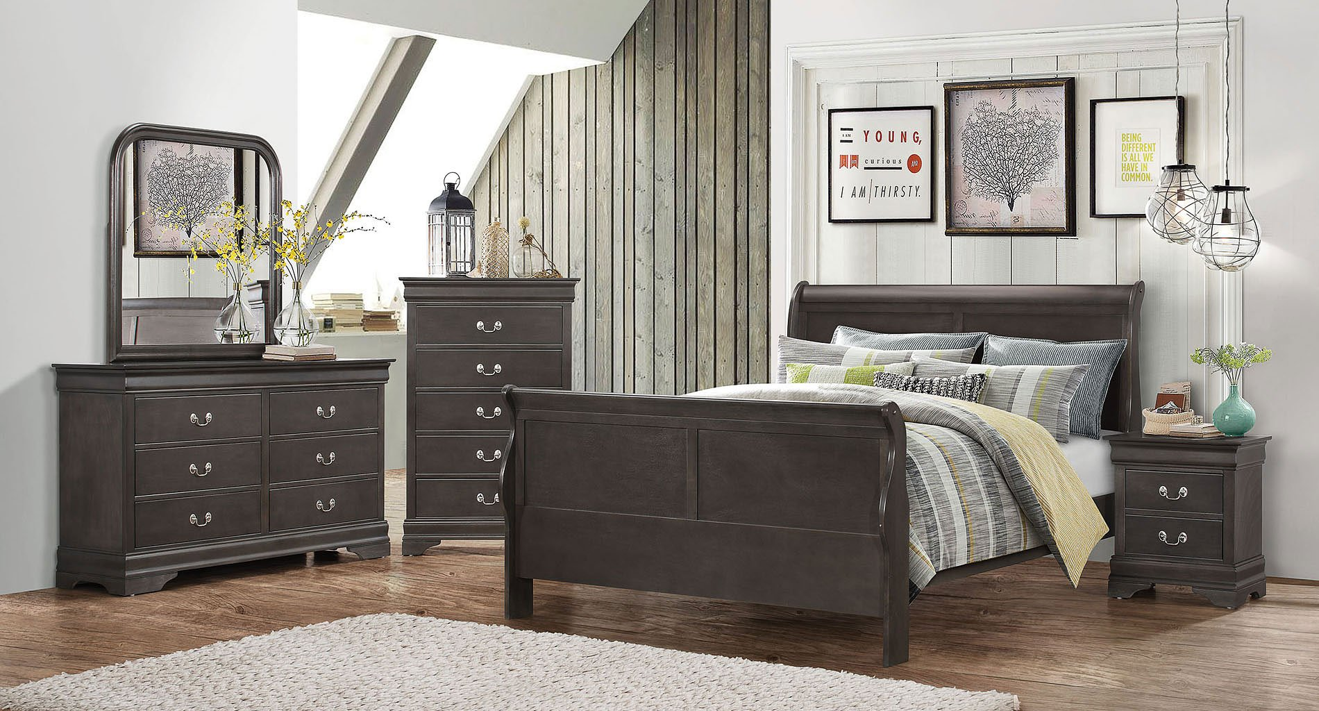 hershel louis philippe bedroom set dark grey by coaster 15928 | 201131q br set 1