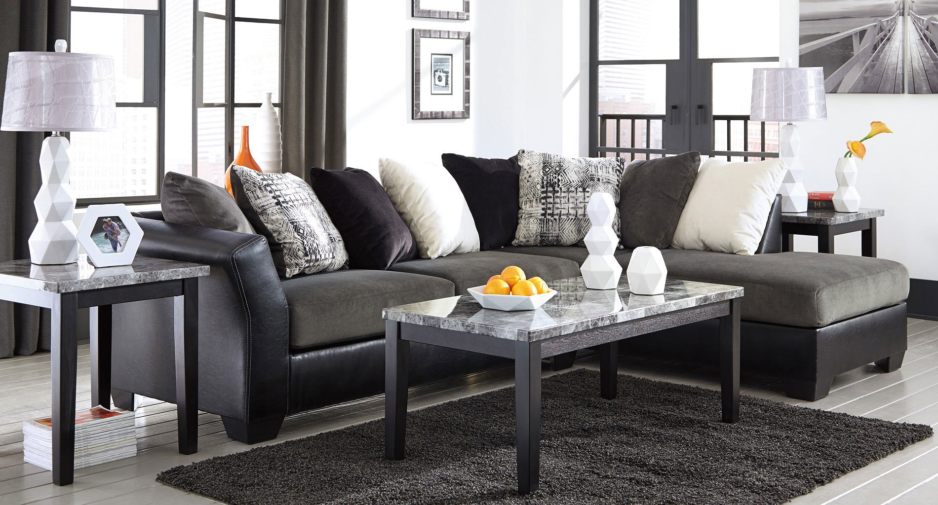 Armant Ebony Sectional Living Room Set