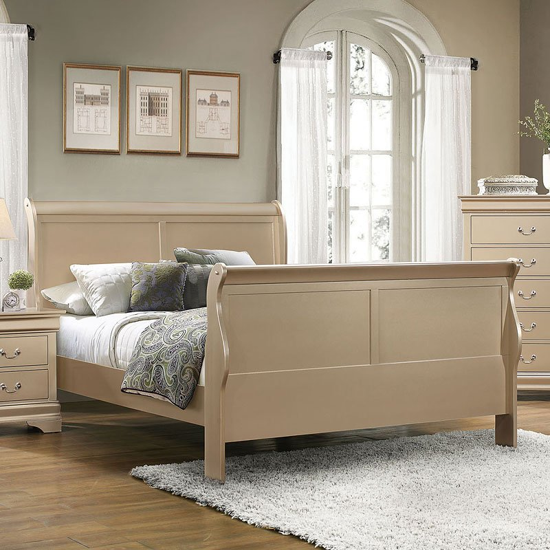 Hershel louis philippe queen bed champagne beds for Juego de cuarto queen size