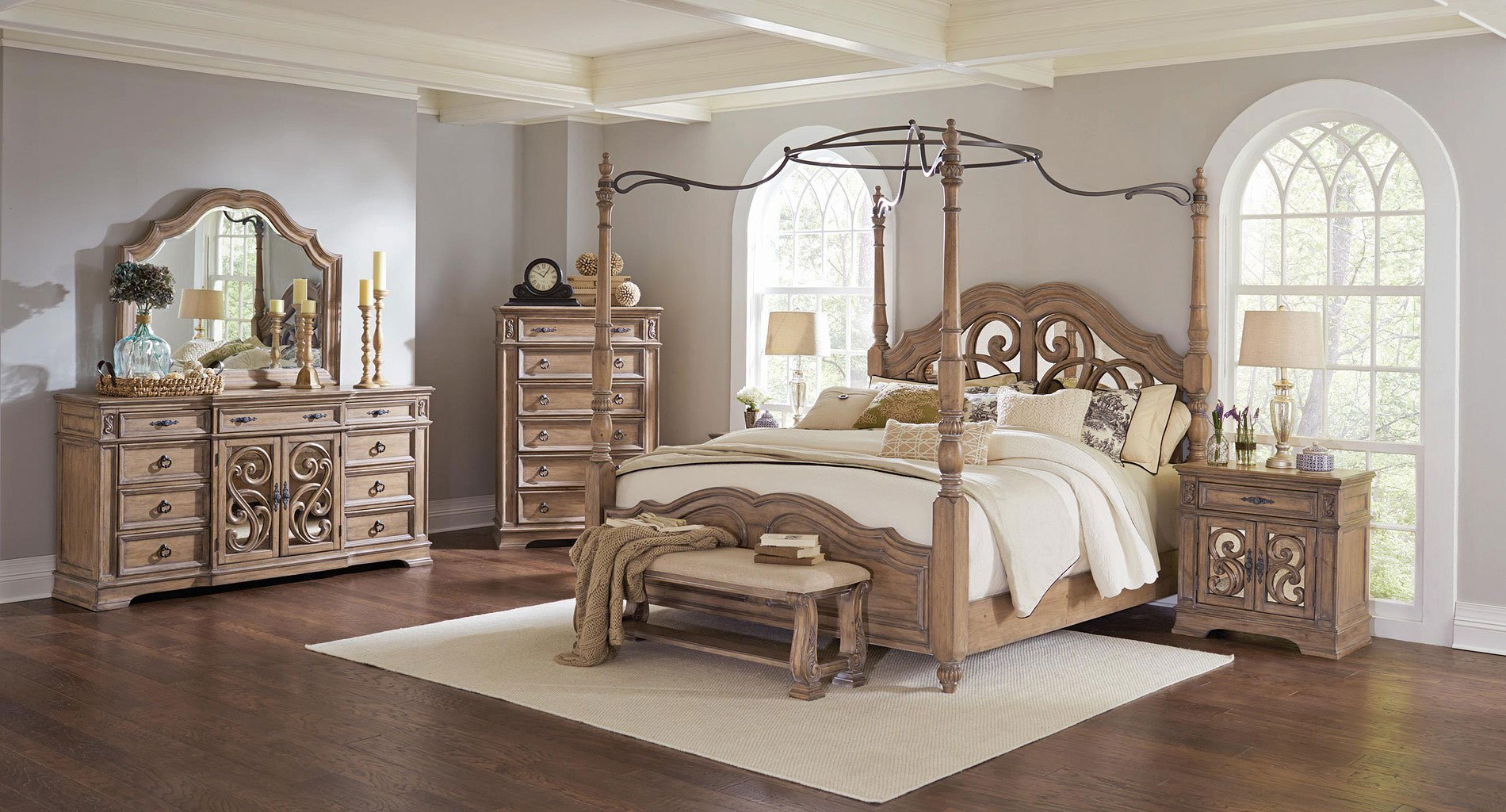 North Shore 6-Piece King Bedroom Set w/ Canopy by Ashley Furniture ...