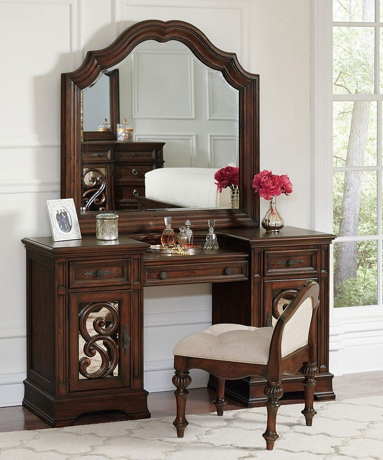 Ilana Vanity Desk (Antique Java) - Ilana Vanity Desk (Antique Java) - Bedroom Furniture - Bedroom