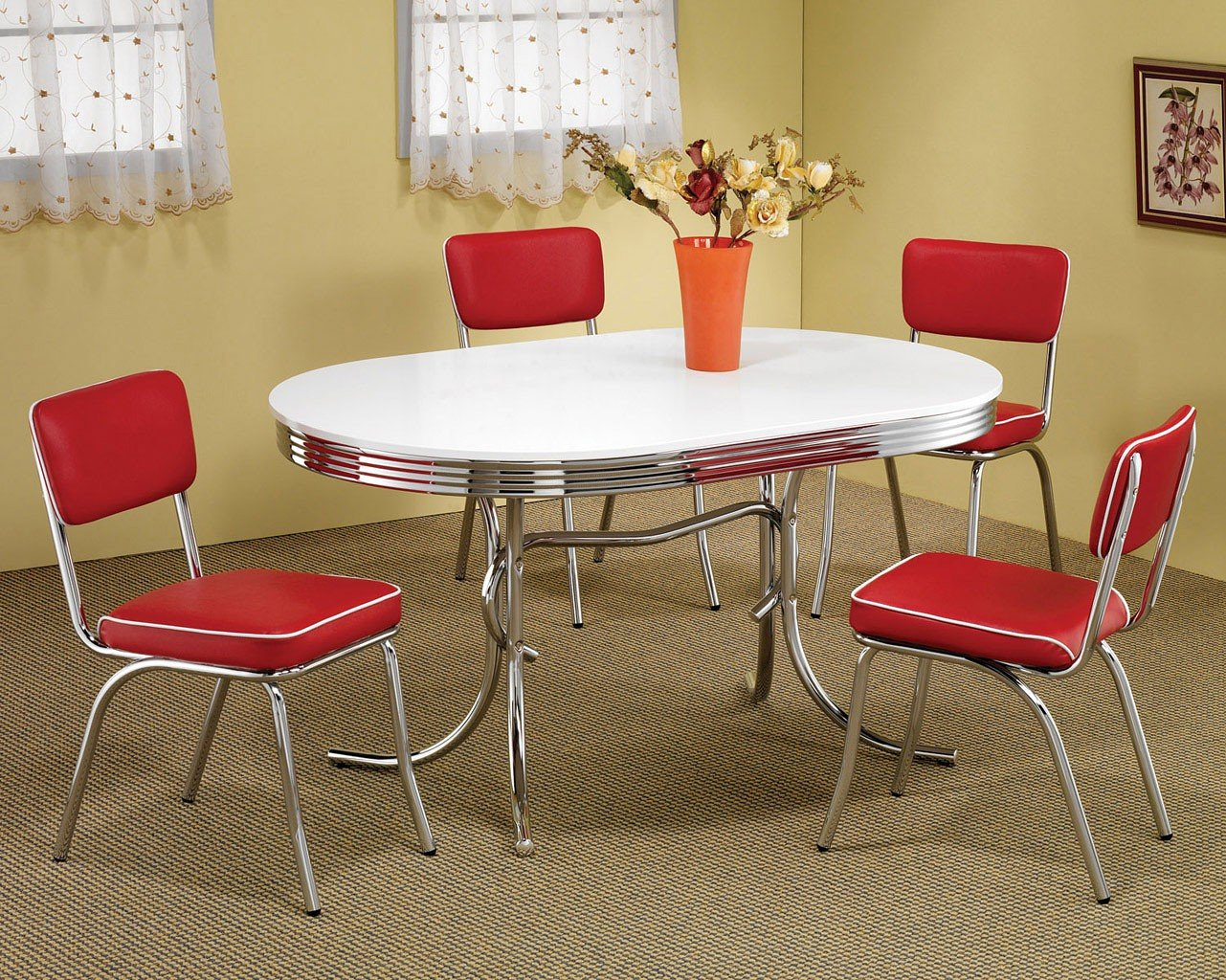 Retro Dining Room Set W Red Chairs Casual Dining Sets