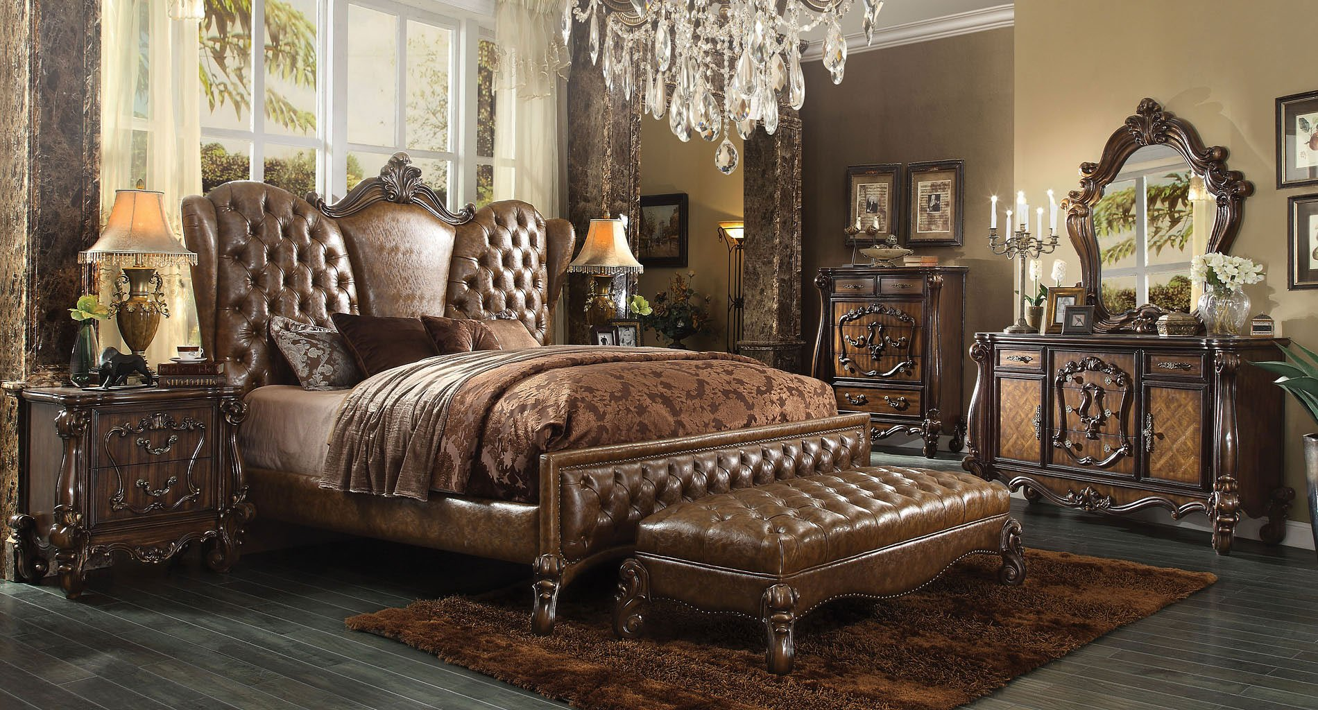 versailles upholstered bedroom set w light brown bed by 12093 | 21100q br set uph brown 1