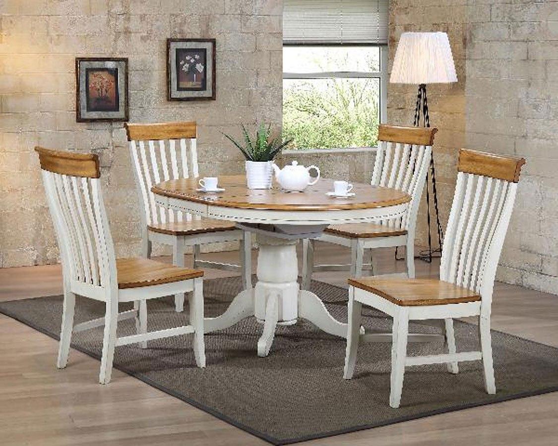 Missouri White And Rustic Round Dining Set W Lancaster